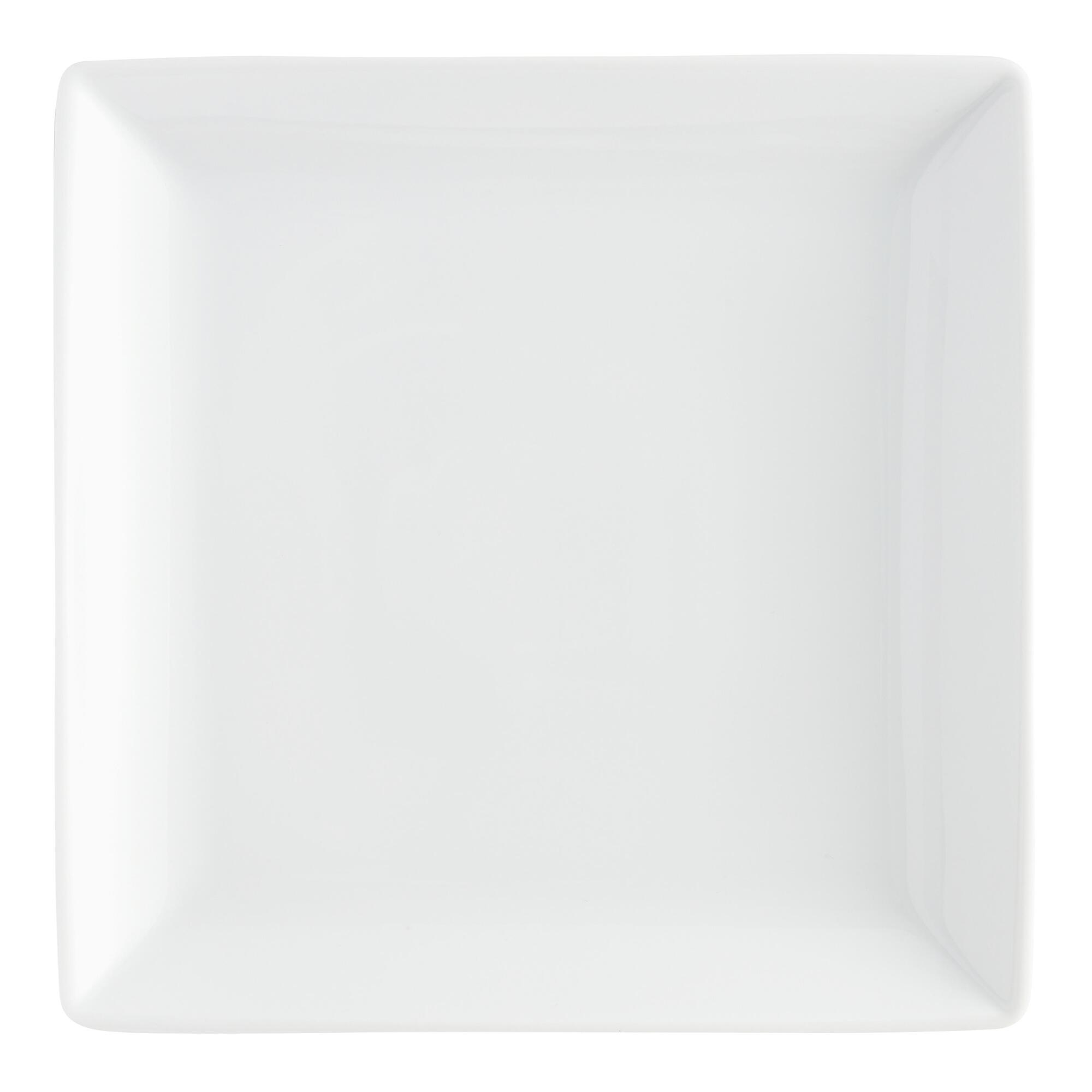 White Square coupe Dinner Plates, set of 4 - Porcelain by Wo