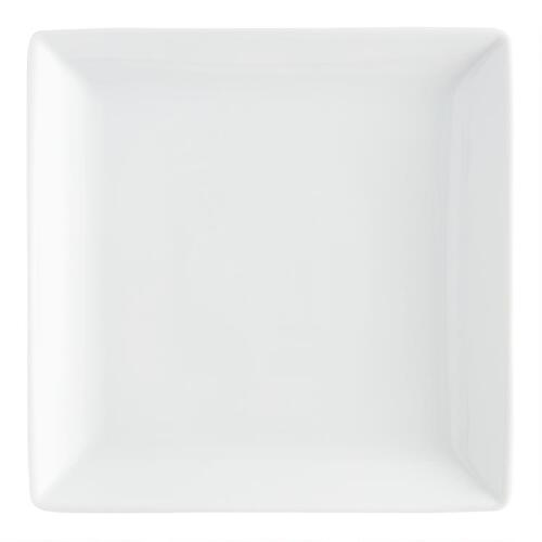 White Coupe Square Dinner Plates, Set of 4