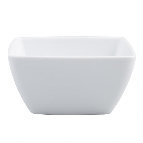 White Coupe Square Bowls, Set of 4
