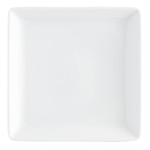 White Coupe Square Salad Plates, Set of 4