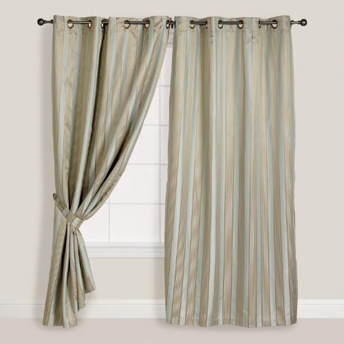 Blue/Taupe Imperial Striped Grommet Curtain