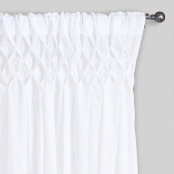White Smocked Top Cotton Curtains, Set of 2