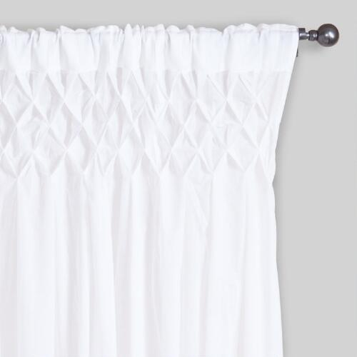 White Smocked Top Cotton Curtains Set Of 2