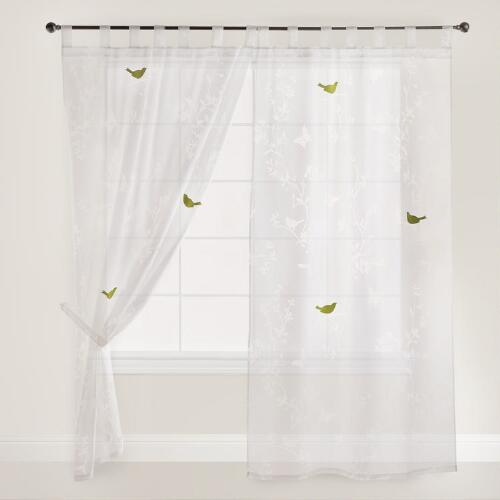 White Bird Botanical Sheer Burnout Curtains, Set of 2