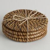 Honey Rattan Coasters, Set of 4