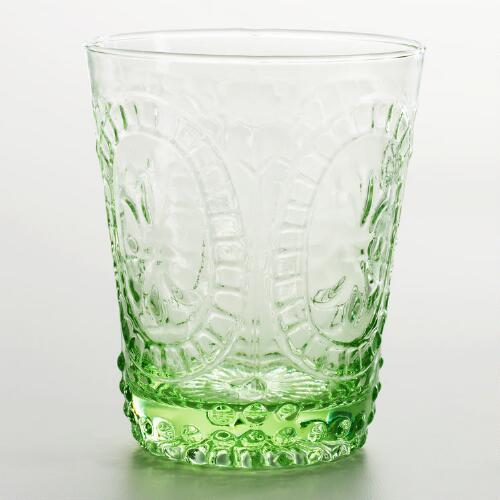 Green Fleur de Lys Double Old Fashioned Glass, Set of 4