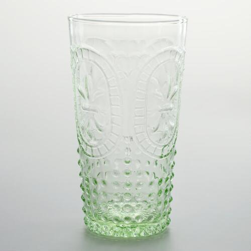 Green Fleur de Lys Highball Glass, Set of 4