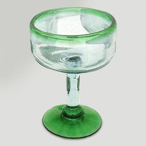 Novica Green Base and Rim Margarita Glasses, Set of 4