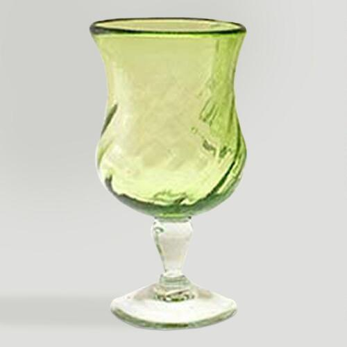 Novica Lime Twist Blown Glass Goblets, Set of 4