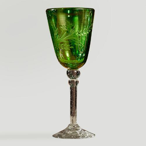 Novica Emerald Flowers Etched Wine Glasses, Set of 4