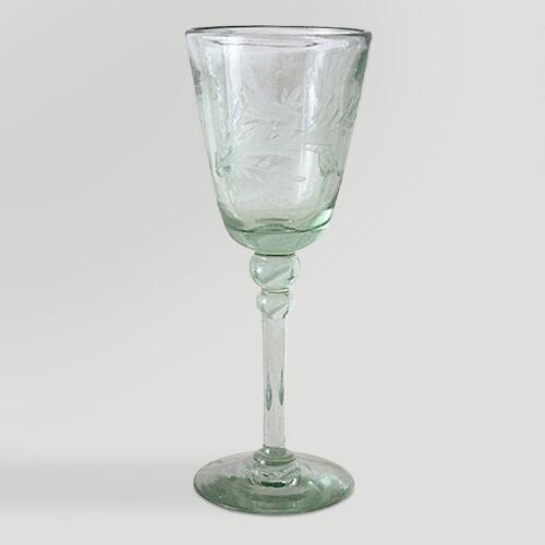 Novica Crystal Flowers Etched Wine Glasses, Set of 4