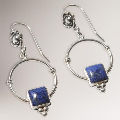 Novica Sterling Silver Flowers Lapis lazuli Dangle Earrings