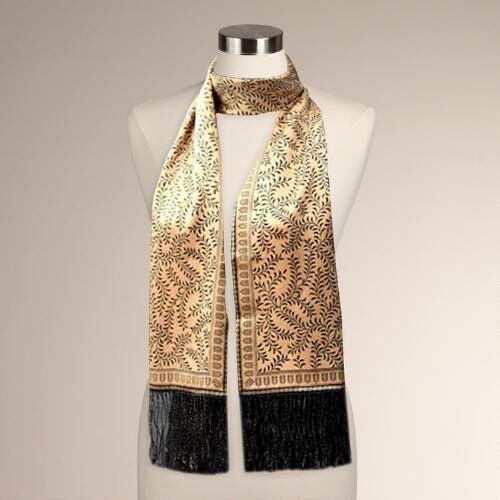 Novica Tropical Tamarind in Black Silk Batik Scarf
