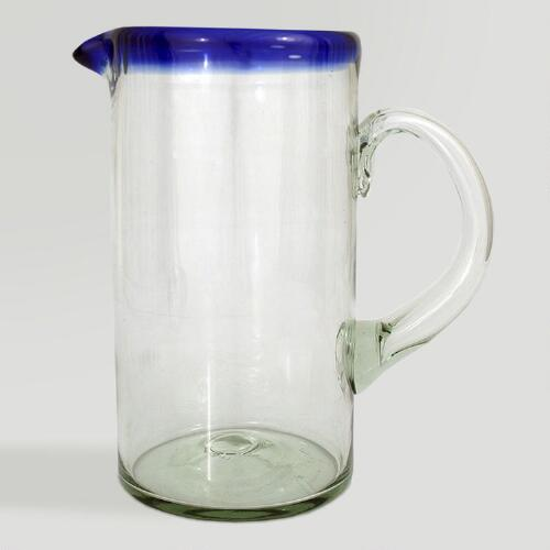Novica Tall Cobalt Ring Glass Pitcher