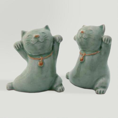 Novica Good Luck Cats (pair) Celadon Ceramic Statuettes
