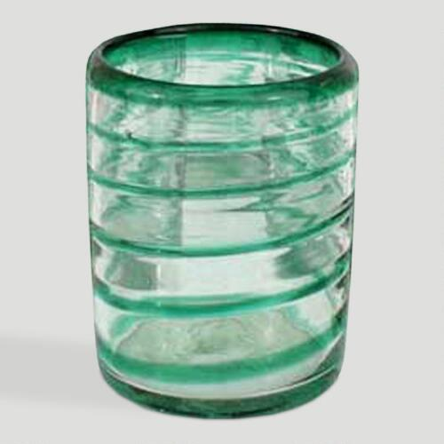 Novica Emerald Spiral Drinking Glasses, Set of 6