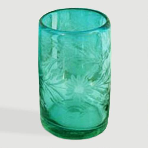 Novica Aquamarine Flowers Etched Juice Glasses, Set of 6