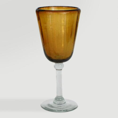 Novica Amber Glory Blown Glass Wine Glasses, Set of 4