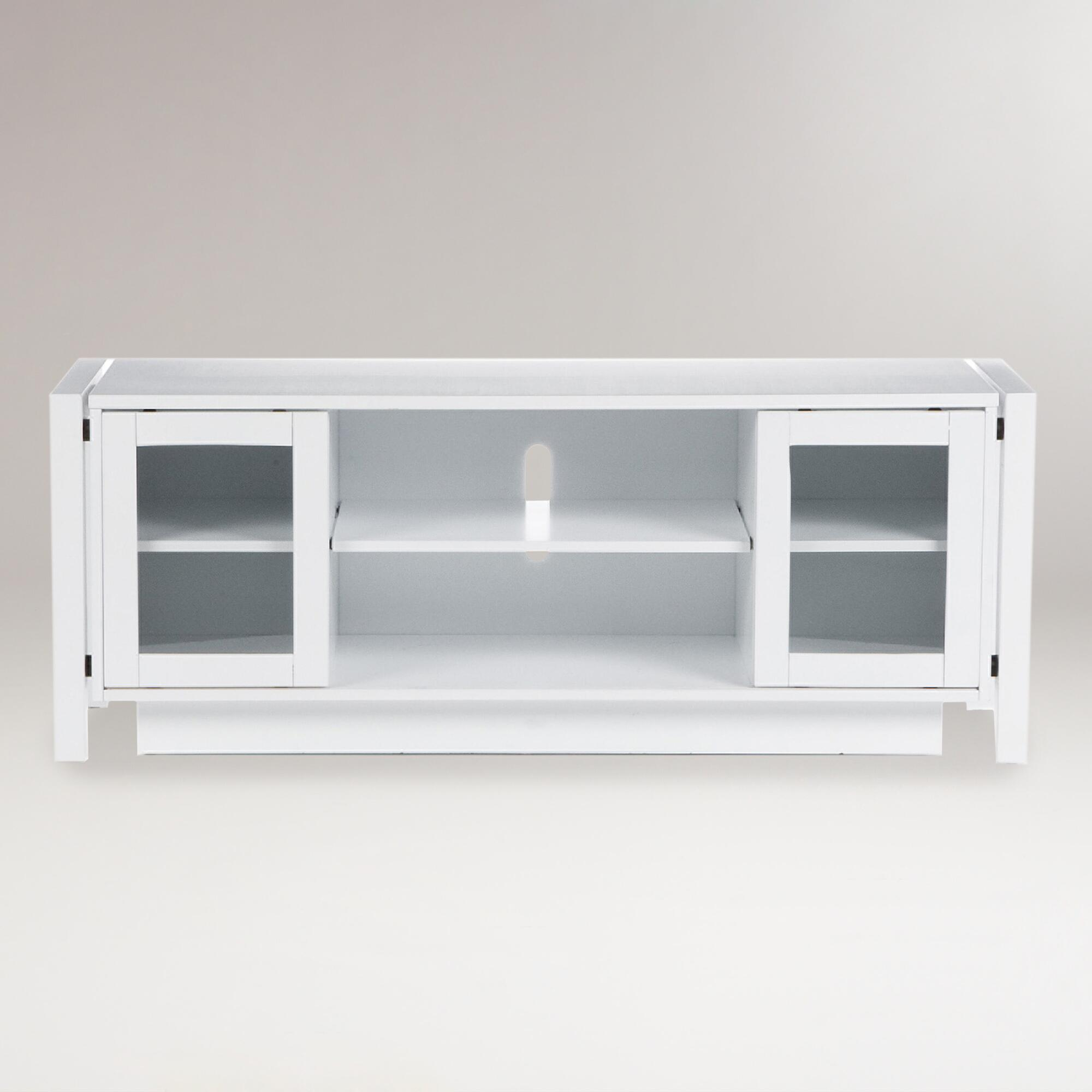White preston media stand world market White media console