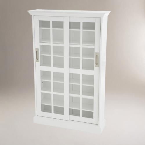 White Sliding Door Media Cabinet