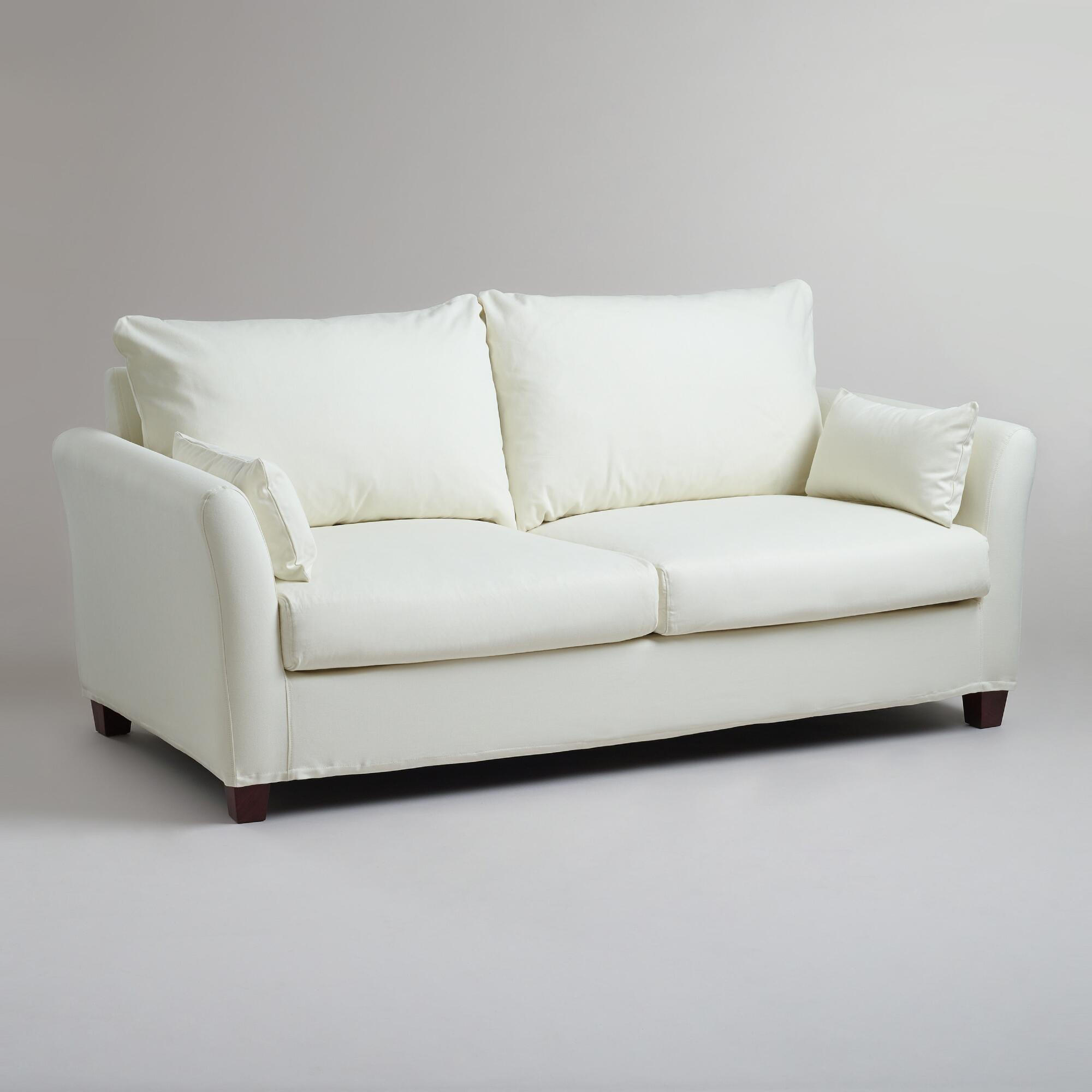 Ivory luxe sofa slipcover world market for Outdoor furniture covers world market