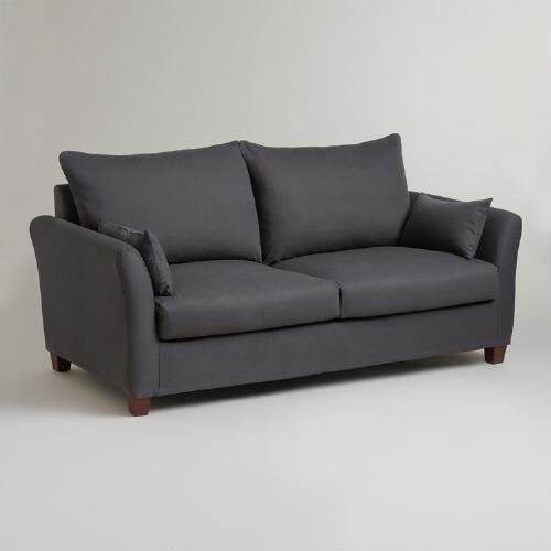 Charcoal Luxe Sofa Slipcover