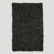 Leather Shag Rug, Black