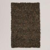 Leather Shag Rug, Brown