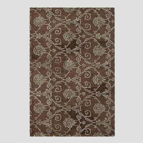Chocolate Damask Jute & Wool Rug