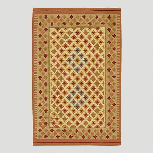 Small Diamond Border Kilim Wool Rug