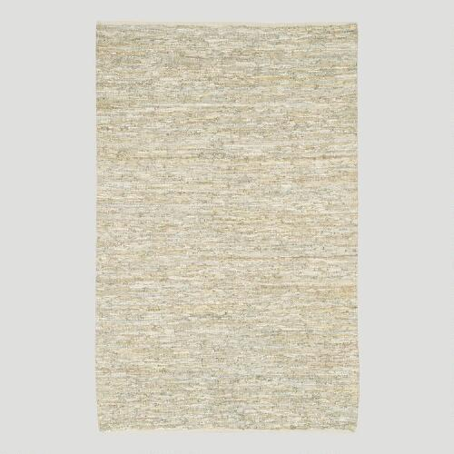 Woven Leather Rug, Ivory