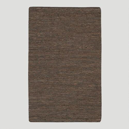 Woven Leather Rug, Chocolate