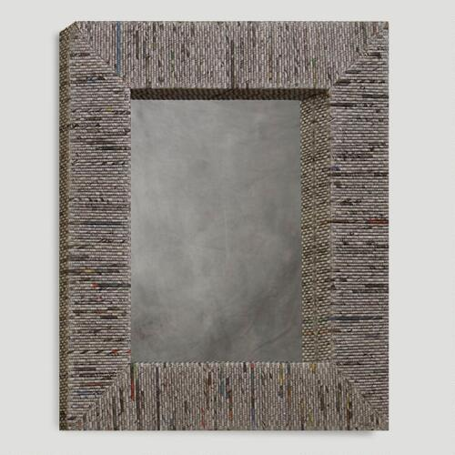 Recycled Newspaper Mirror, Rectangular