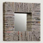 Recycled Newspaper Mirror, Square