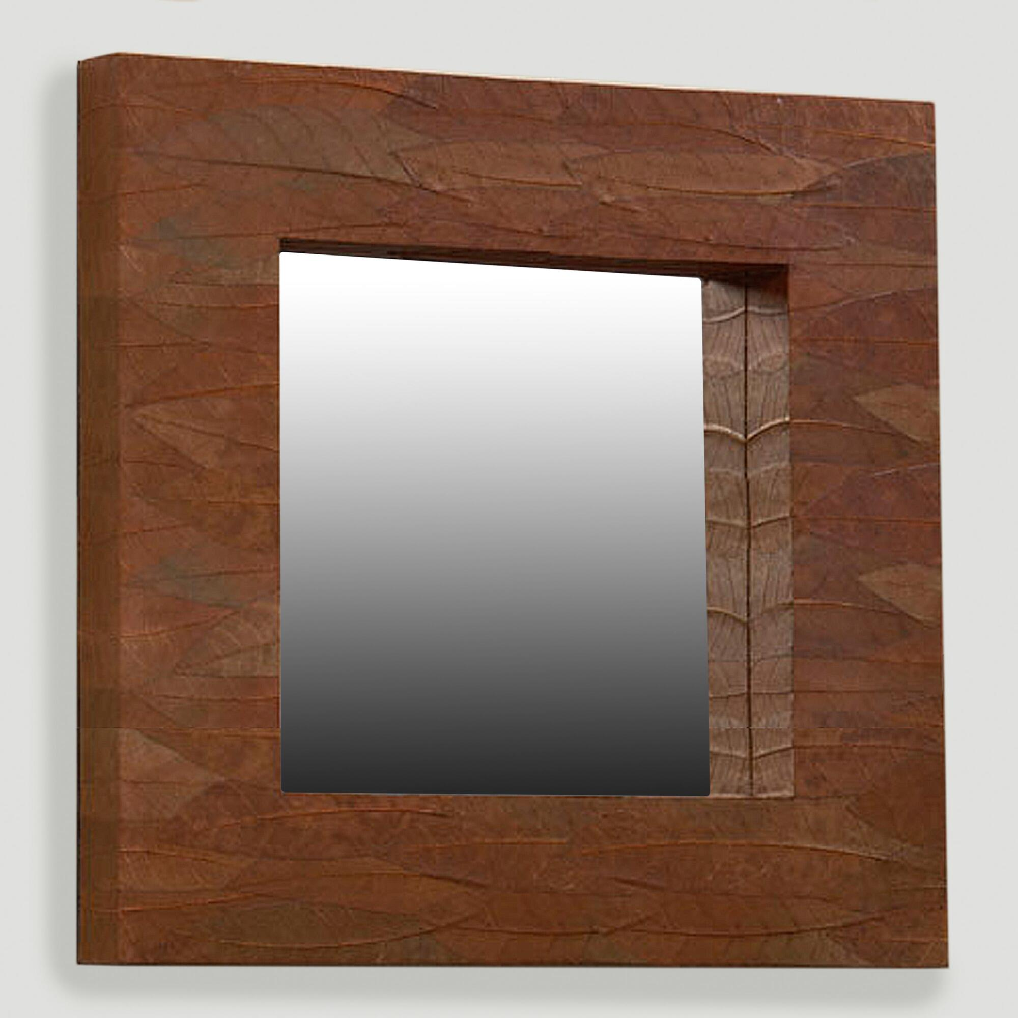 Mahogany leaf square mirror world market for Square mirror