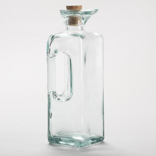 Square Green Glass Oil Bottle with Handle