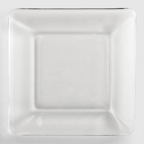 Tempo Square Glass Dessert Plate