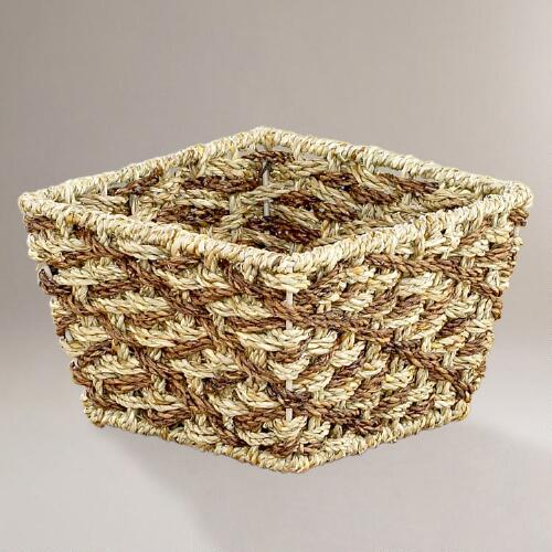 Two-Tone Betty Woven Seagrass Baskets in Small, Set of 2