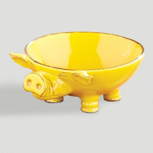 Yellow Pig Serving Bowls, Set of 2