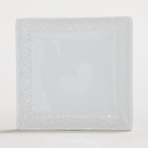 White Wax Resist Square Sushi Platters, Set of 4