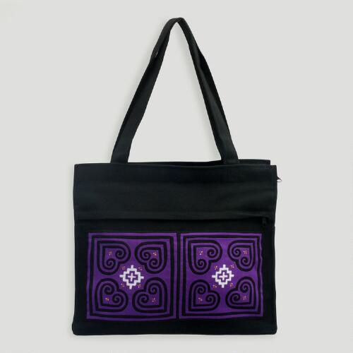 Novica Purple Lotus Cotton Shoulder Bag