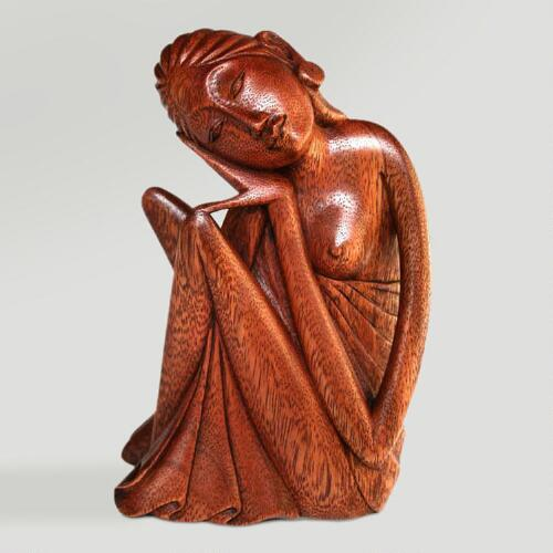 Novica A Balinese Woman Wood Statuette