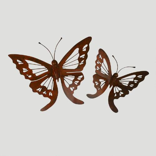 Novica Butterfly Iron Wall Adornments, Set of 2