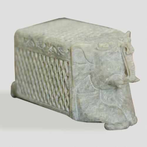 Novica White Elephant Treasure Soapstone Box