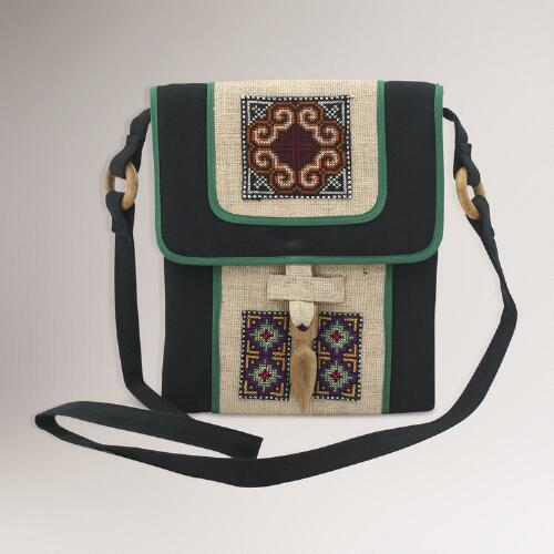 Novica Colors of the Night Hemp Shoulder Bag