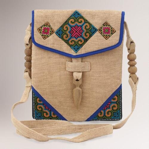 Novica Miracle Blue Hemp Shoulder Bag