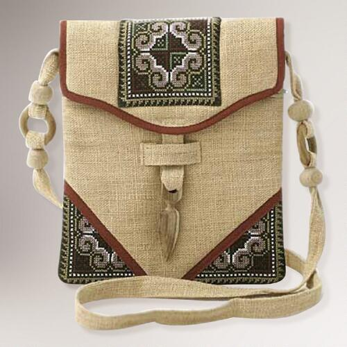 Novica Miracle Red Hemp Shoulder Bag
