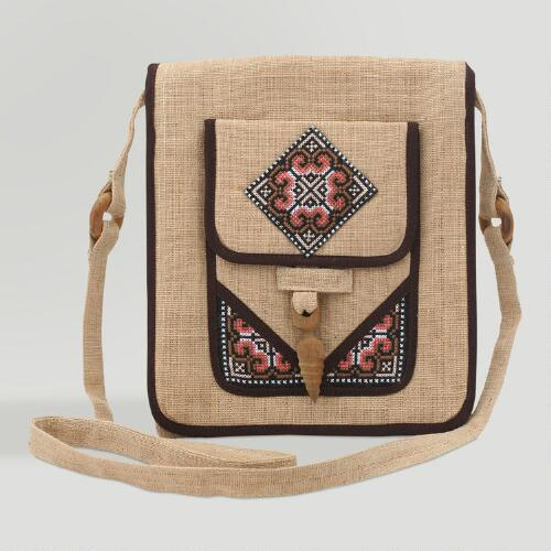 Novica Earth Miracle Hemp Shoulder Bag