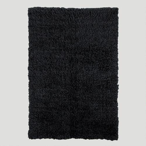 Black Flokati Wool Rug
