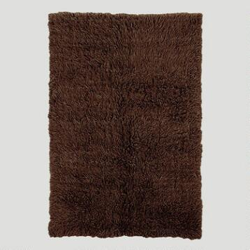 Cocoa Brown Flokati Wool Rug
